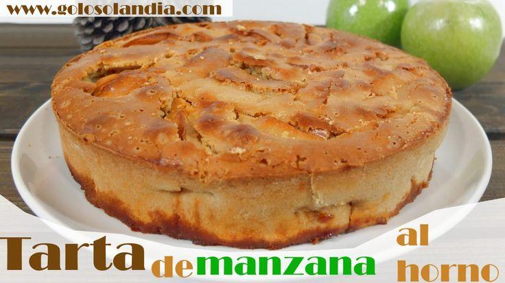 Tarta de manazana al horno Fácil receta escrita y vídeo paso a paso. #golosolandia http://www.golosolandia.com/2017/06/tarta-manzana-al-horno.html