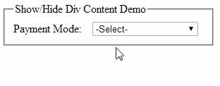 jQuery to Show/Hide the controls placed inside Div based on Asp.net DropDownList selected value http://www.webcodeexpert.com/2014/07/jquery-to-showhide-div-content-based-on.html