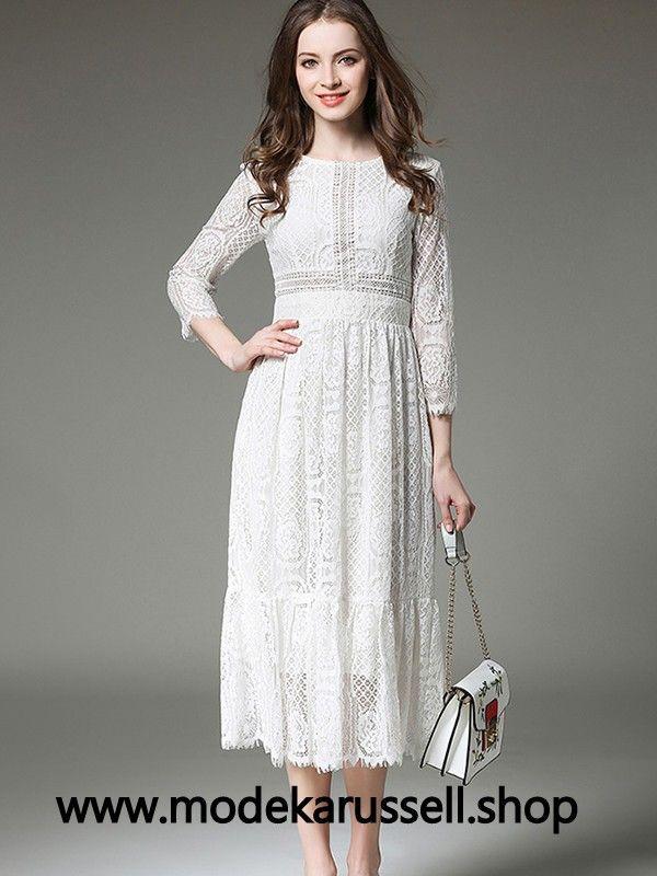 Damen Stick Kleid in Weiss Wadenlang