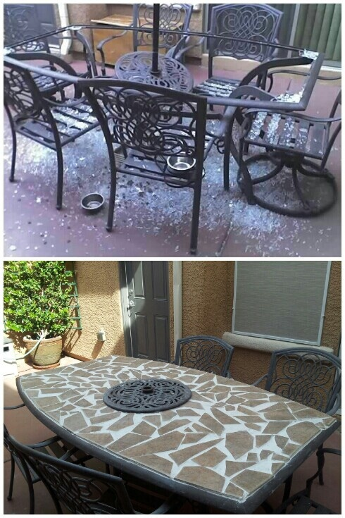 Before and after. A roof shingle fell down and shattered the glass top. Easy fix with wood and left over tile. Saved $140!