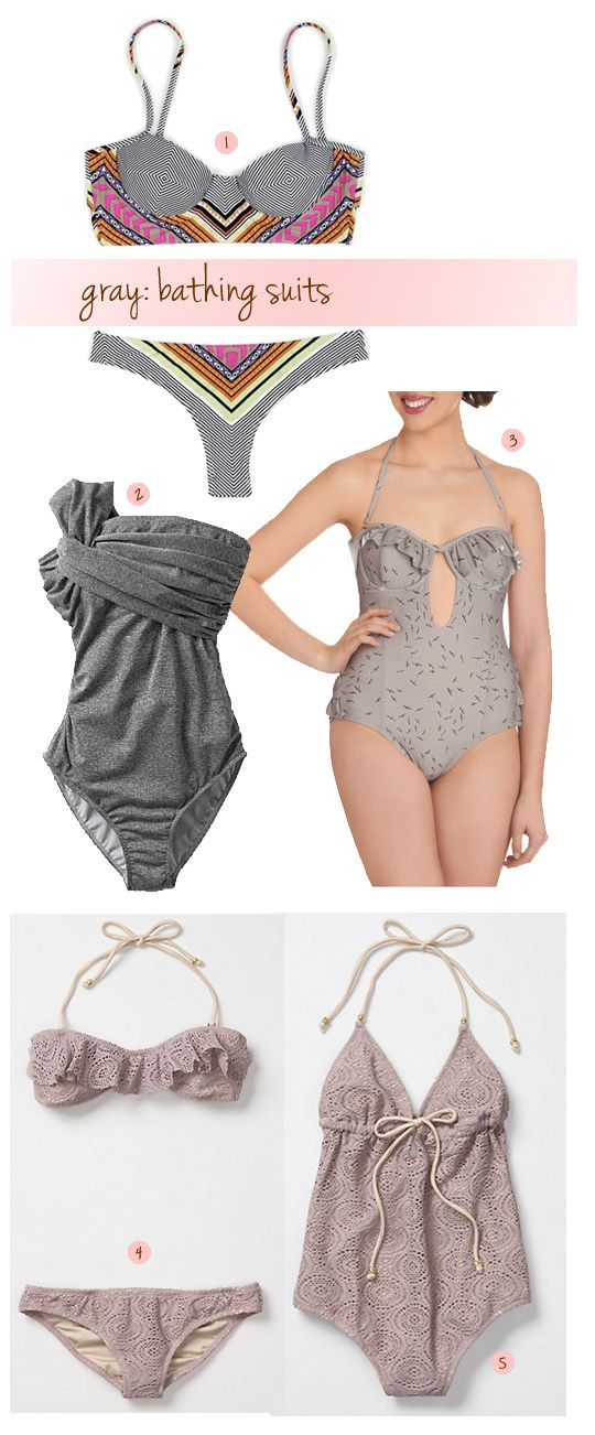 gray bathing suits