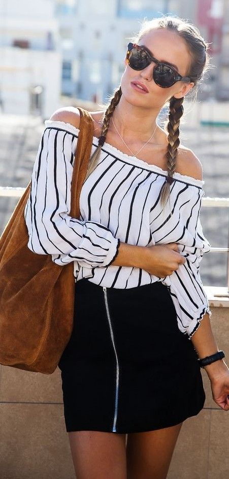 #summer #trendy #outfitideas Off The Shoulder Stripe Top + Black Mini Skirt