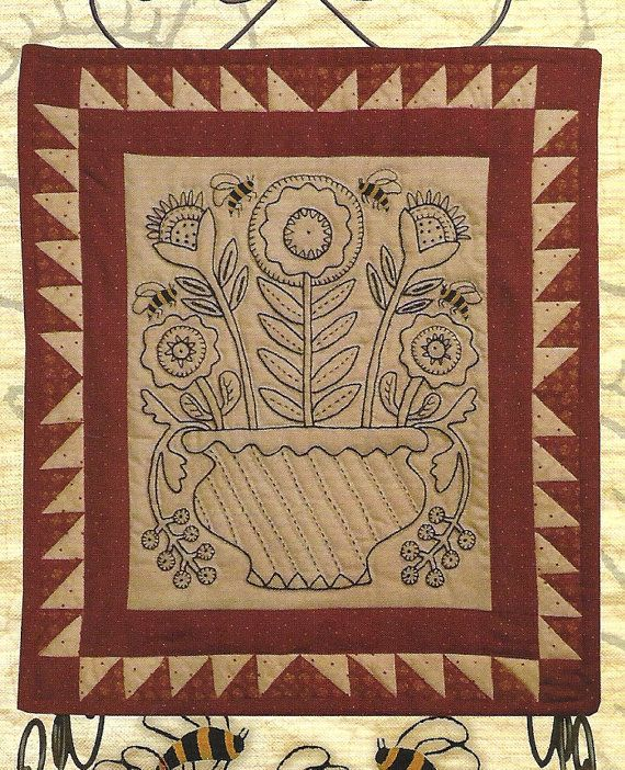 Primitive Folk Art Embroidery/Quilt Pattern: MAY DAY