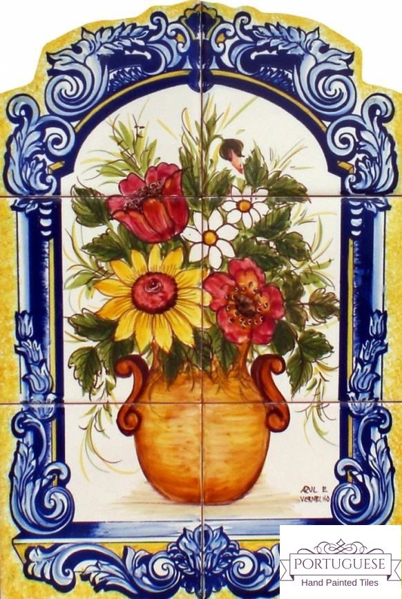 Portuguese Hand Painted Flower Vase Tile Mural Azulejos A