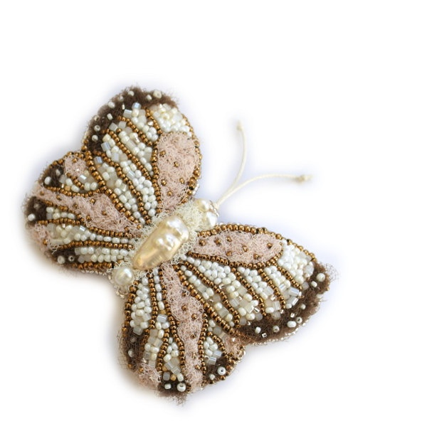 Butterfly brooch, bead embroidered beige ivory peach brooch. Butterfly jewelry. Ready to Ship. $110.00, via Etsy.