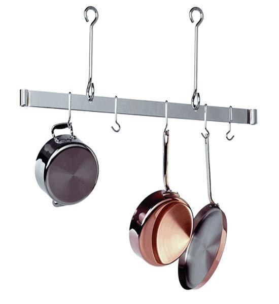 The sleek and simple design of the sleek ceiling bar for Overhead pots and pans rack