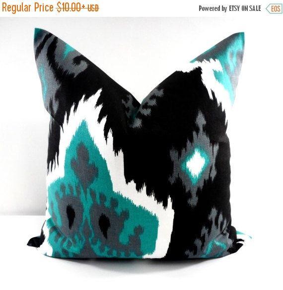 ikat jade and black sofa pillow cover