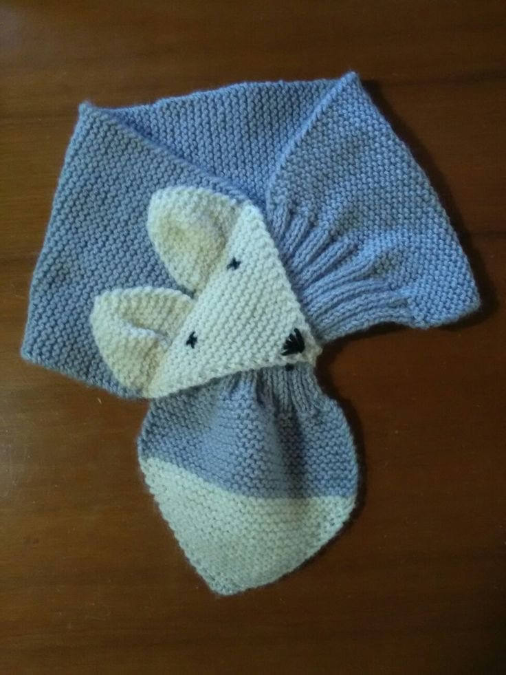 Knitting baby scarf fox