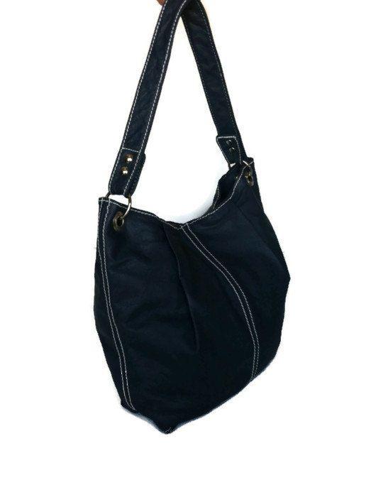 Genuine navy blue leather medium hobo purse bag handbag handmade zuly ...