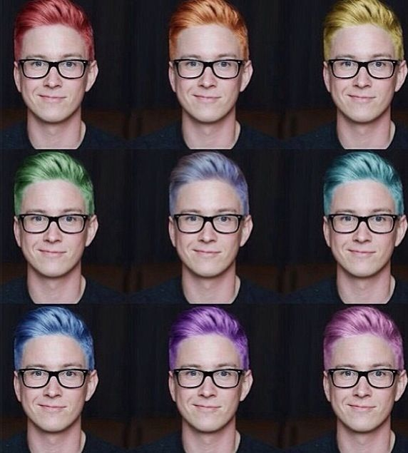 Tyler Oakley-different hair- amazing photoshop! I have to say though, his real lilac hair is the best
