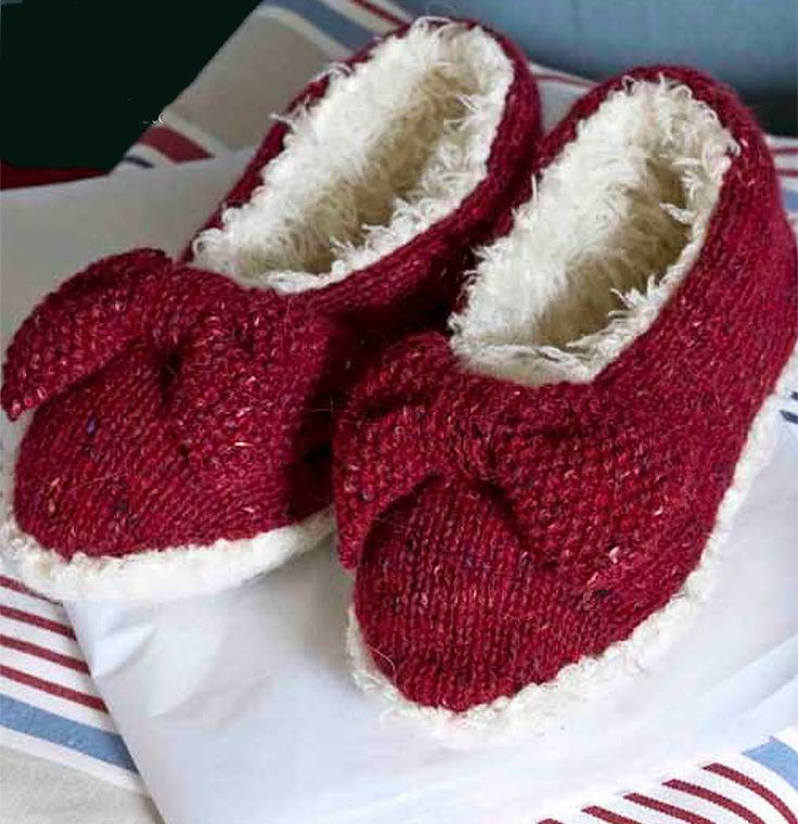 """Free knitting pattern for Bow Slippers - #ad These fun slippers by Jem Weston are lined with soft textured yarn for extra coziness. Two sizes.  Download does require """"checkout"""" with email and address at Deramore's but pattern is free. tba"""