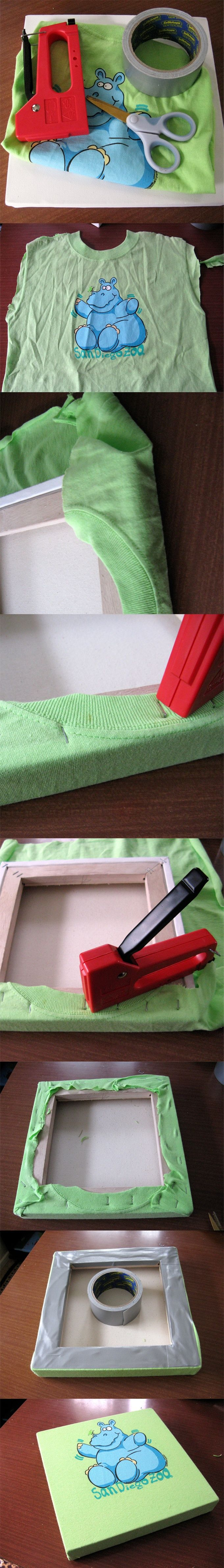 DIY Recycle an old t-shirt into a nice canvas || Recicla una camiseta en un cuadro de pared