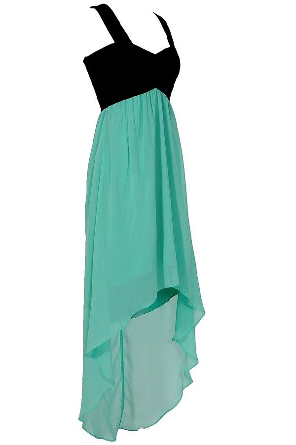 Pretty in Black and Mint Green - Hi Low Hem Line and a very flattering neckline