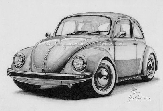 Volkswagen Beetle Original Car Drawing Instant by Gyedavidartshop, Ft2637.24