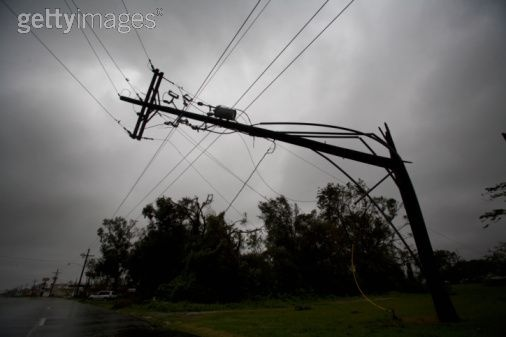 Broken power line in the town of Houma still hanging in the wake of Hurricane Gustav.