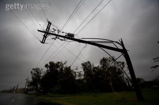 Broken power line in the town of Houma still hanging in the wake of Hurricane Gustav.