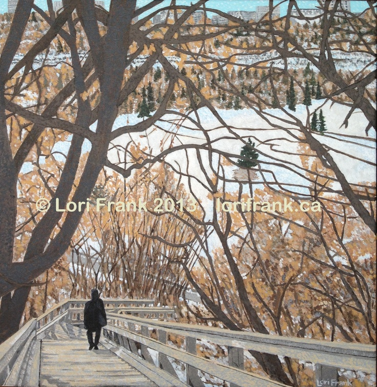 """Winter Wonderland, acrylics on canvas 20""""x20"""". Part of my series of paintings of Edmonton's river valley. Prints available. www.lorifrank.ca"""