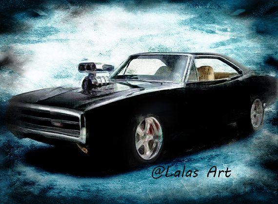 Vintage Retro Style Art Old-timer Dodge Charger by LalasArtWorld
