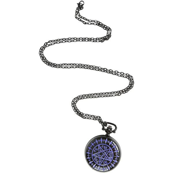 Black Butler Tetragrammaton Pocket Watch Necklace Hot Topic (£9.51) ❤ liked on Polyvore featuring jewelry, black jewelry, black pocket watch, pocket watch, kohl jewelry и black jet jewelry