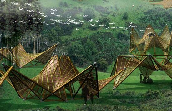 Designer Ming Tang is making sure that no one sleeps in the open sky once our beautiful houses have been swallowed by the furious powers of nature. Tang has come up with beautiful origami-inspired Folded Bamboo Houses that are intended to be used as temporary shelters in the consequences of an earthquake. These shelters are constructed from sustainable bamboo poles that are pre-assembled into rigid geometric shapes, which can be folded into a variety of shapes.