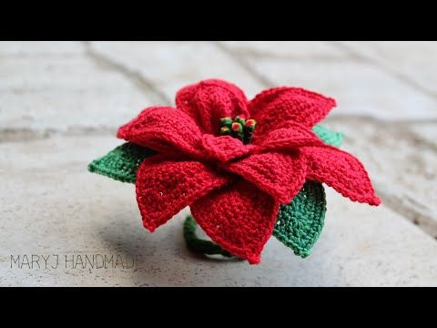 MaryJ Handmade: Stella di Natale all'uncinetto | How to crochet a poinsettia