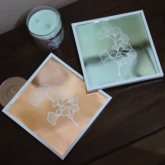 "Survivor Trees • 8""x8"" Ginkgo Biloba Leaves • Maidenhair Tree Metallic Foil Art Print • READY TO SHIP •Lttlwlf Art"