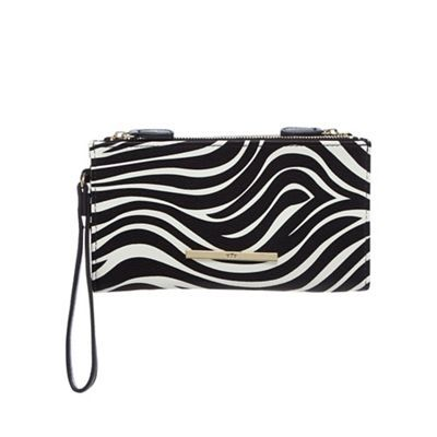 Red Herring Black zebra print double zip large purse | Debenhams