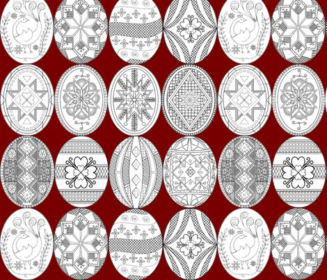 Large Pysanky, Easter Eggs on red background fabric by rengal on Spoonflower - custom fabric