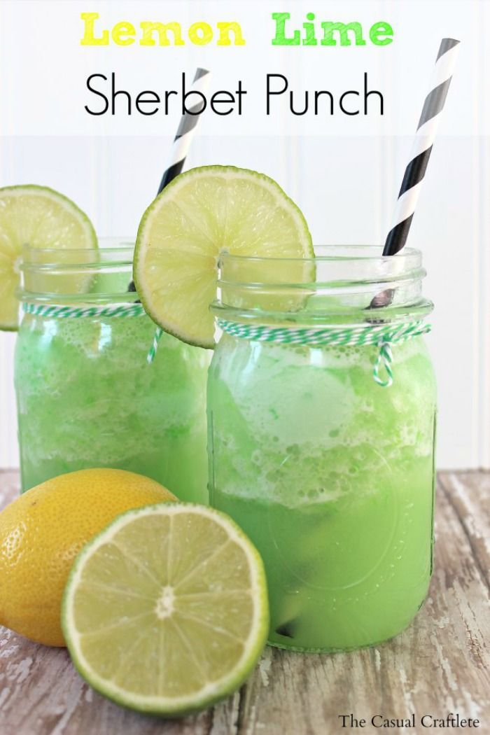 This Lemon Lime Sherbet Punch from The Casual Craftlete is perfect for the grown ups or kiddos. Plus, it's such a fun color!