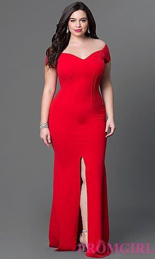 Long Off-the-Shoulder Plus-Size Jersey Dress  at PromGirl.com
