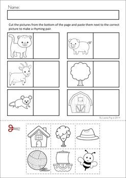 MEGA Math & Literacy Worksheets & Activities - Down on the Farm. 100 Pages in total!! A page from the unit: Rhyme Time cut and paste.