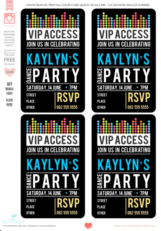 Kaylyn's Dance Party Invite - these came out so well! DIY FREE VIP PARTY INVITE TEMPLATE Hi all, thank you all for your messages and requests for this template. I have created the template in MS Word....