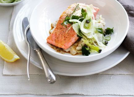 Roast ocean trout with white bean purée and fennel salad recipe - 9Kitchen