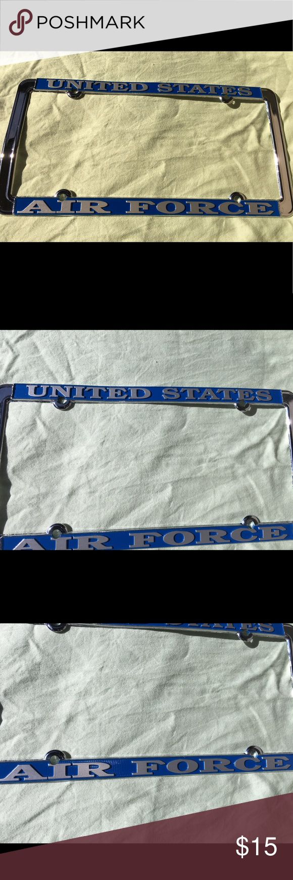 United States Air Force metal license plate frame Thank you for viewing my listing, for sale is a brand new in the package, metal license plate frame, United States Air Force. If you have any questions or would like additional photos please feel free to ask. USA Accessories