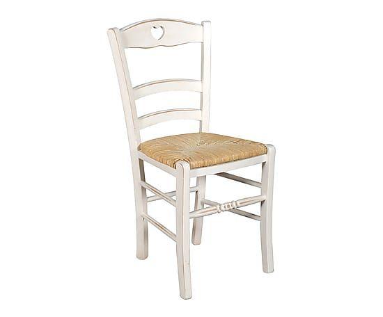 Madeira de pinho e cadeira de palha, branco e natural - L41