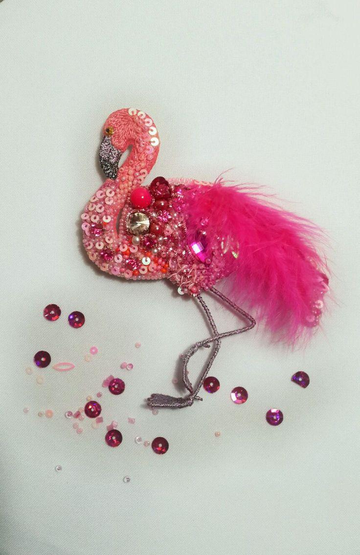 Купить Брошь ручной работы Фламинго - брошь птица, брошь птичка, птица, птичка, фламинго