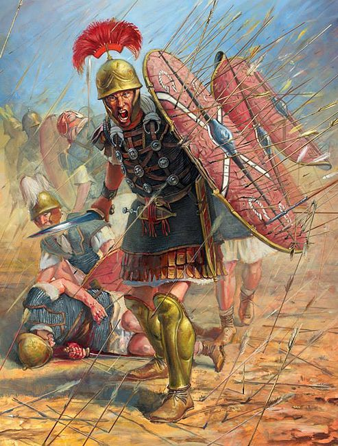A Roman centurion leads his legionaries through a storm of arrows at the Battle of Dyrrhachium.