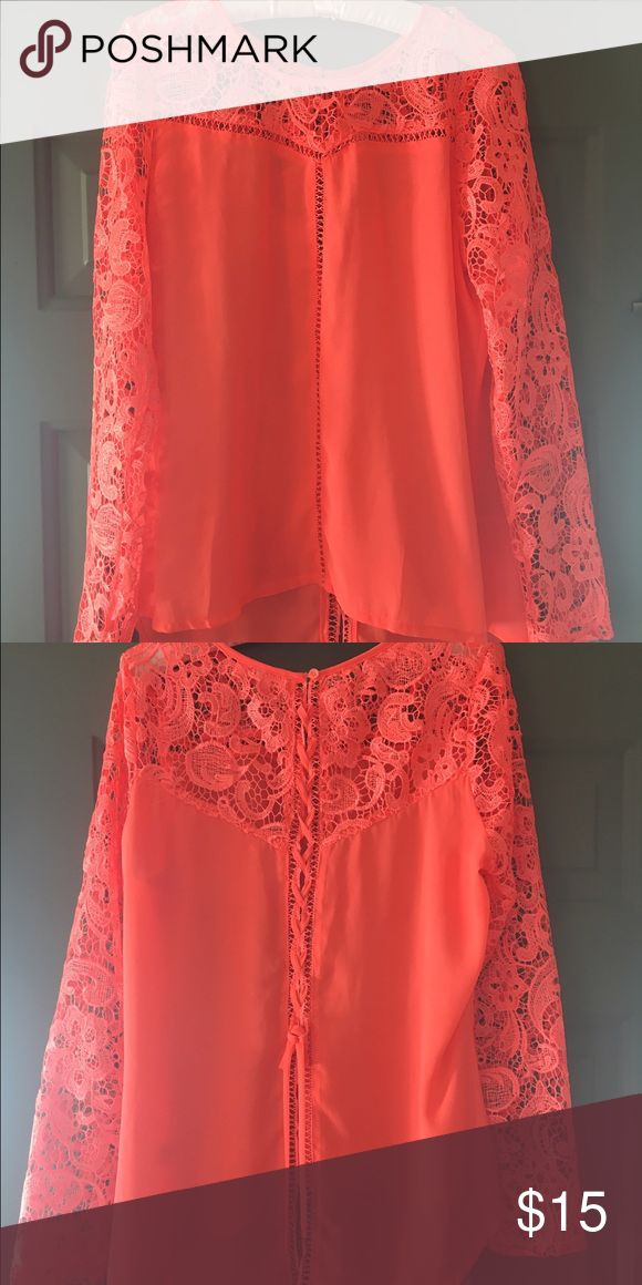 Bright Coral crocheted blouse with braided back Gorgeous BRIGHT coral blouse purchased from Lime Lush Boutique. Tops Blouses