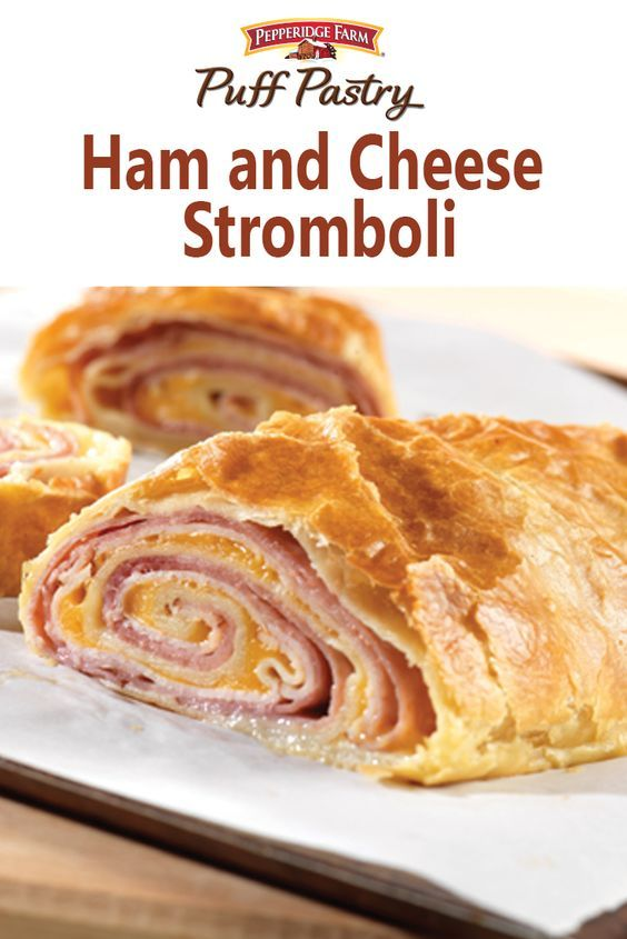 Puff Pastry Ham and Cheese Stromboli Recipe. Ham, turkey and cheese are layered in a flaky pastry roll, and baked until the filling is hot and the cheese is melted. And it couldn't be easier to make.