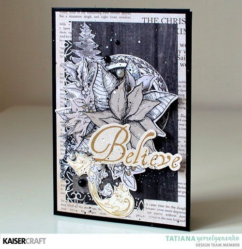 'Believe' Christmas Card Inspiration by Tatiana Yemellyanenko Design Team member for Kaisercraft Official Blog and using their September 2017 'Christmas Traditions' collection. Learn more at kaisercraft.com.au - Wendy Schultz - Christmas + Tags.