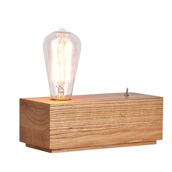 Simple Edison wood table lamp