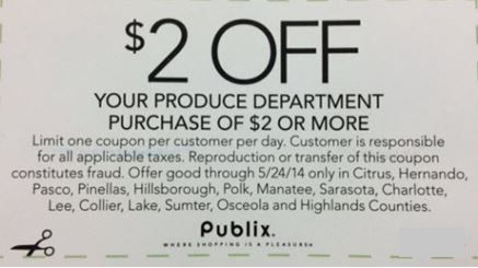 Publix Coupon spotted in some Florida papers. $2 off fresh produce!! Click the link below to get all of the details  ► http://www.thecouponingcouple.com/publix-produce-coupon-2-off-flyer-in-florida-sunday-papers/
