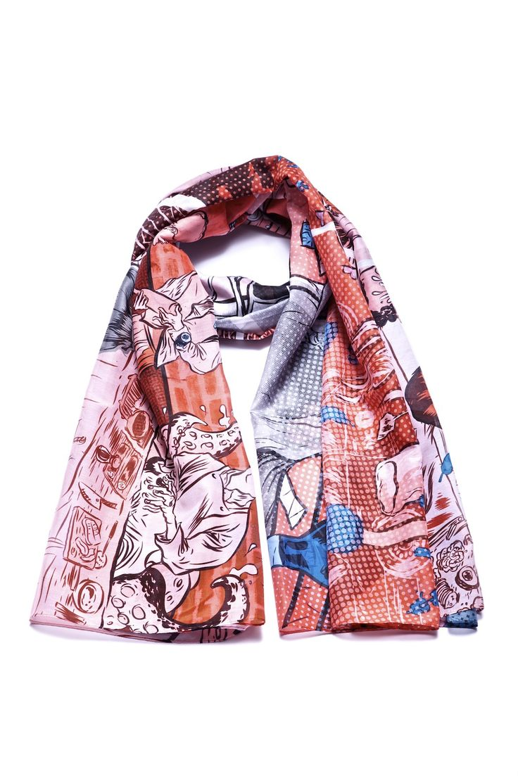 New! Your scarf designed by Spanish illustrator Rafael Alvarez in a fine cotton-silk blend.