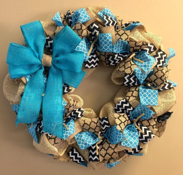 Wreath it! Burlap Wreath Wall Hanging-Natural Burlap, Teal Blue, Black - Made with our patent pending Wreath it! base