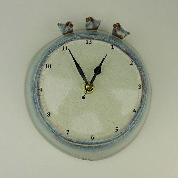 Large Ceramic Wall Clock with Three Birds by JuliaSmithCeramics