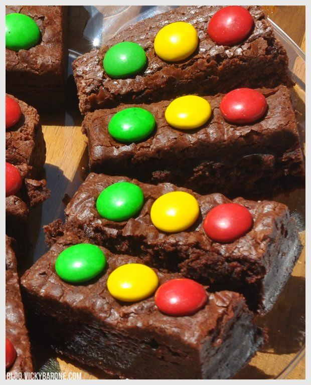 Stoplight Brownies -- put on Toothpicks to really make them look like a stop light? ... maybe dipped in chocolate? hmmm