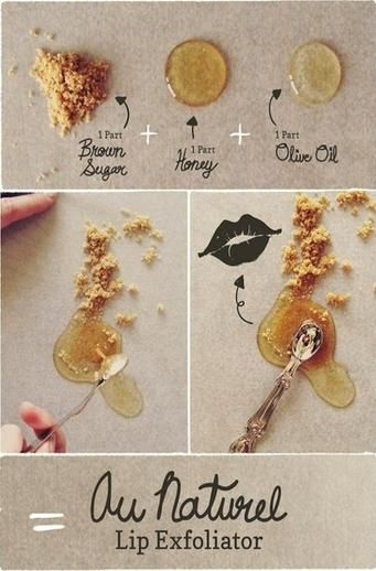Homemade lip exfoliator using brown sugar, olive oil, and honey + a slideshow of 50 of the best diy beauty treatments.