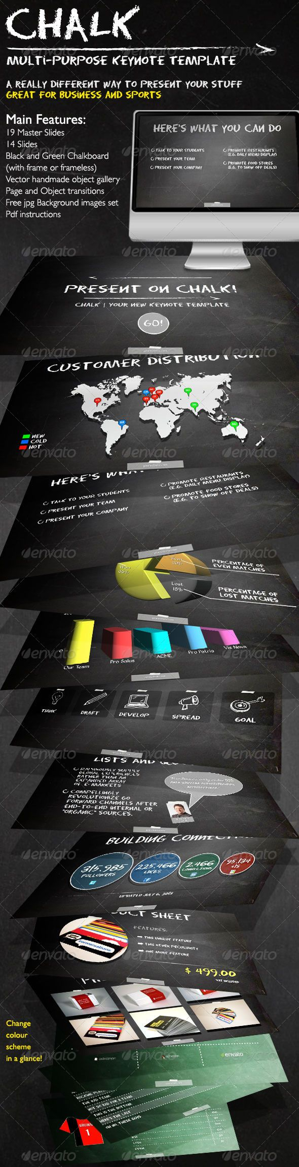 """Chalk - Business and Sports Keynote Template  #GraphicRiver         Chalk is a Keynote template that helps you to present your business or your sport team in a clear yet alternative way.  Features     25 Master Slides (including library)     24 Slides     Black and Green Chalkboard   Vector object gallery (including vector """"chalk style"""" social network icons)   Page and Object transitions     Free jpg Background images set     Pdf instructions   See it in Action  Chalk in Action  Fonts Used…"""