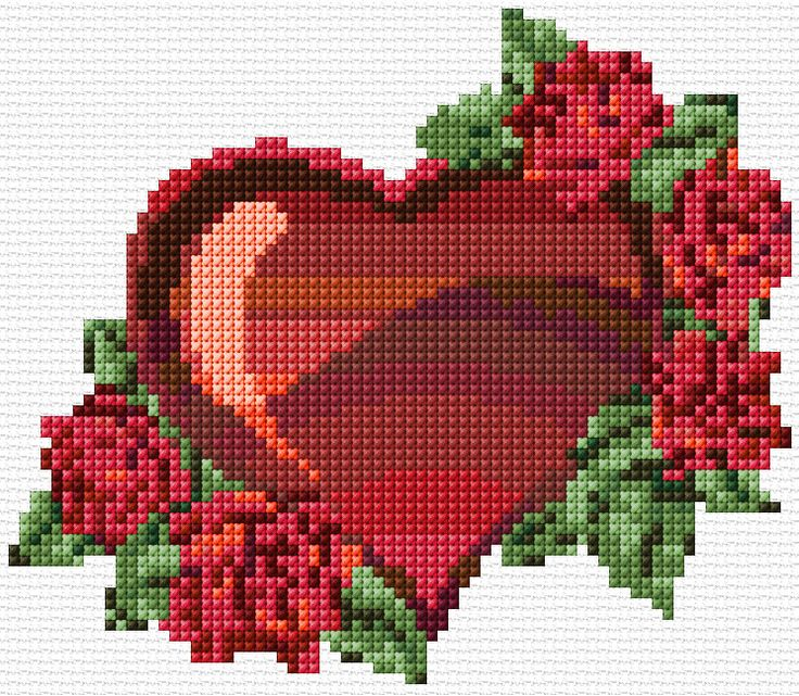 free cross stitch valentine with roses