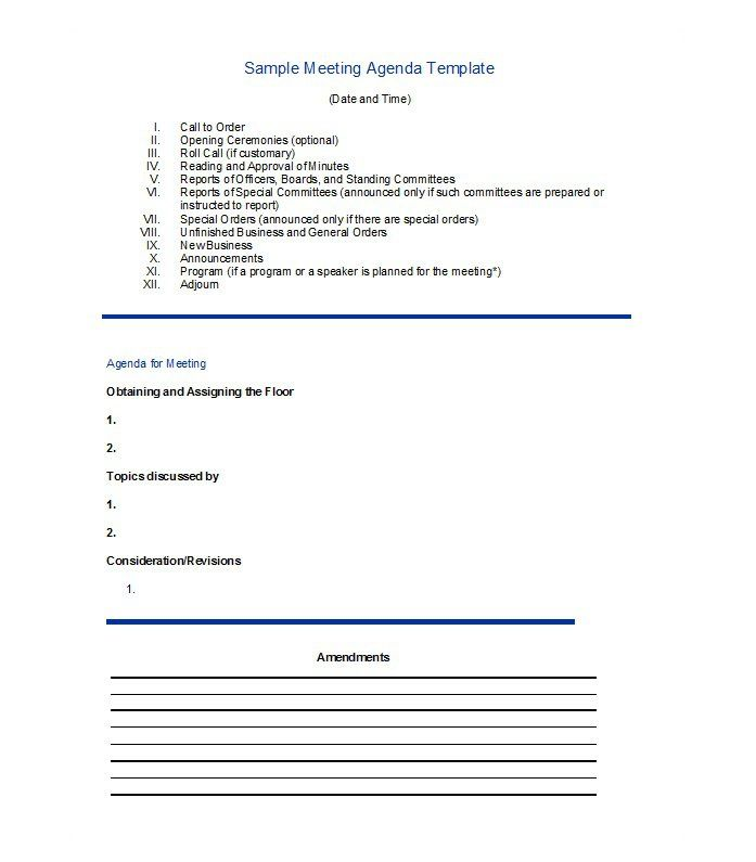 46 Effective Meeting Agenda Templates ᐅ Agenda Template